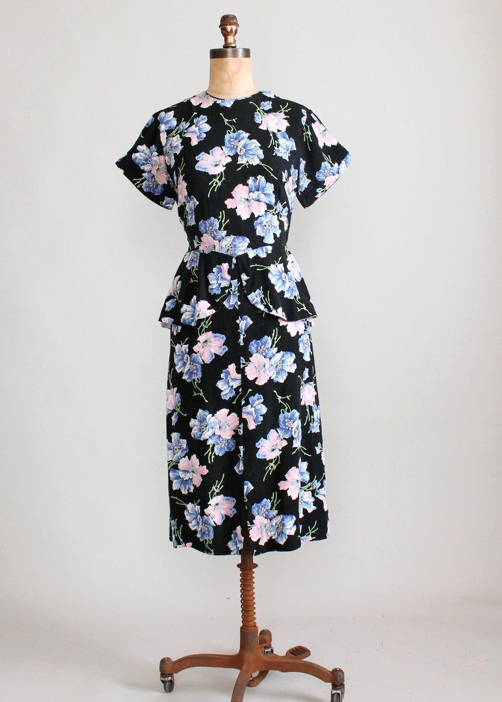 Vintage 1940s Floral Rayon Peplum Day Dress
