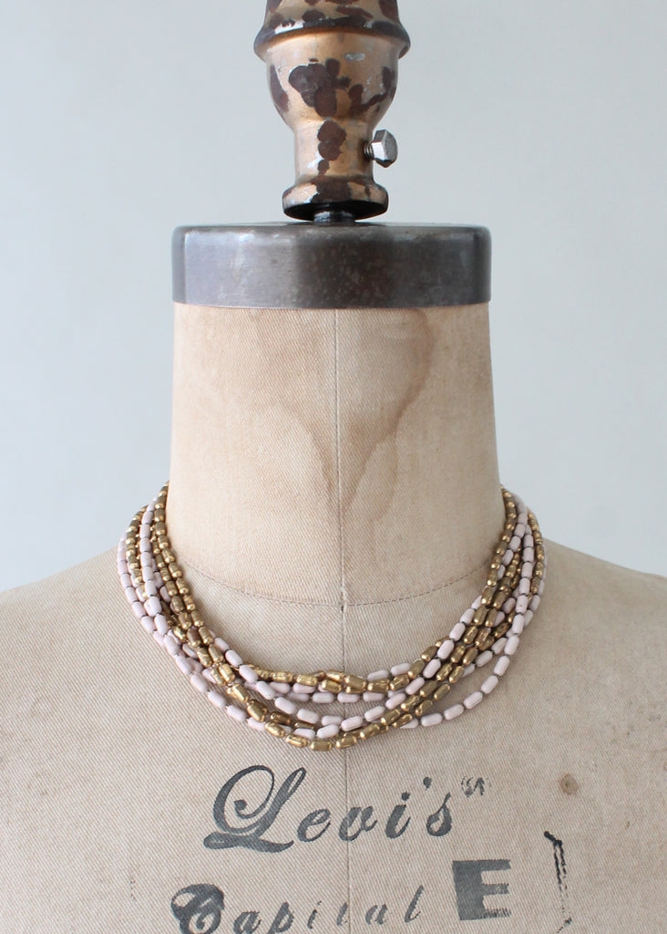 Vintage 1940s Pink and Brass Bead Necklace