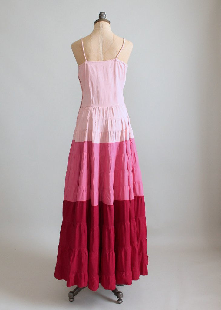 Vintage 1940s Pink Color Block Evening Gown
