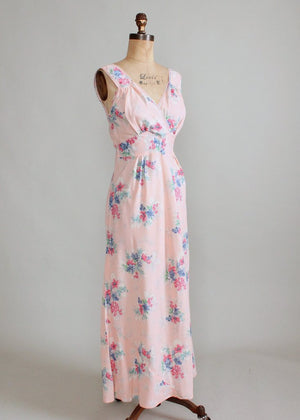 Vintage 1940s Pink Floral Rayon Nightgown