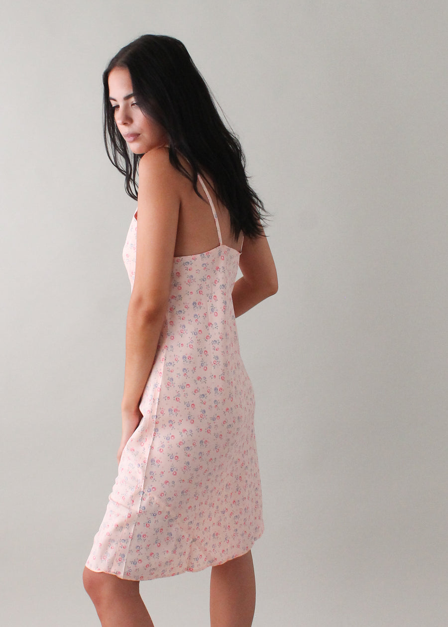 Vintage 1940s Floral Rayon Slip Dress