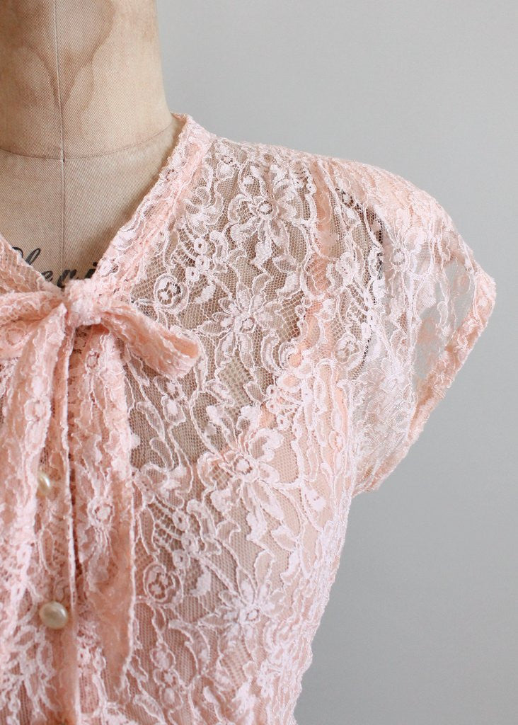 Vintage 1940s Pink Lace and Navy Rayon Dress
