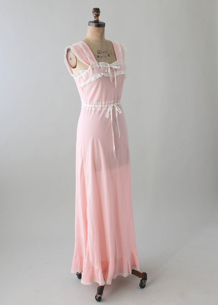 Vintage 1940s Joraine Pink Rayon and Lace Nightgown