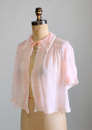 Vintage 1940s Pink Silk and Lace Bed Jacket