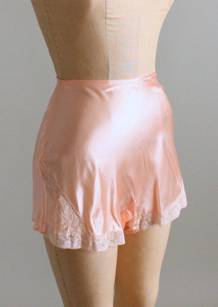 Vintage 1940s Pink Silk and Lace Tap Pants