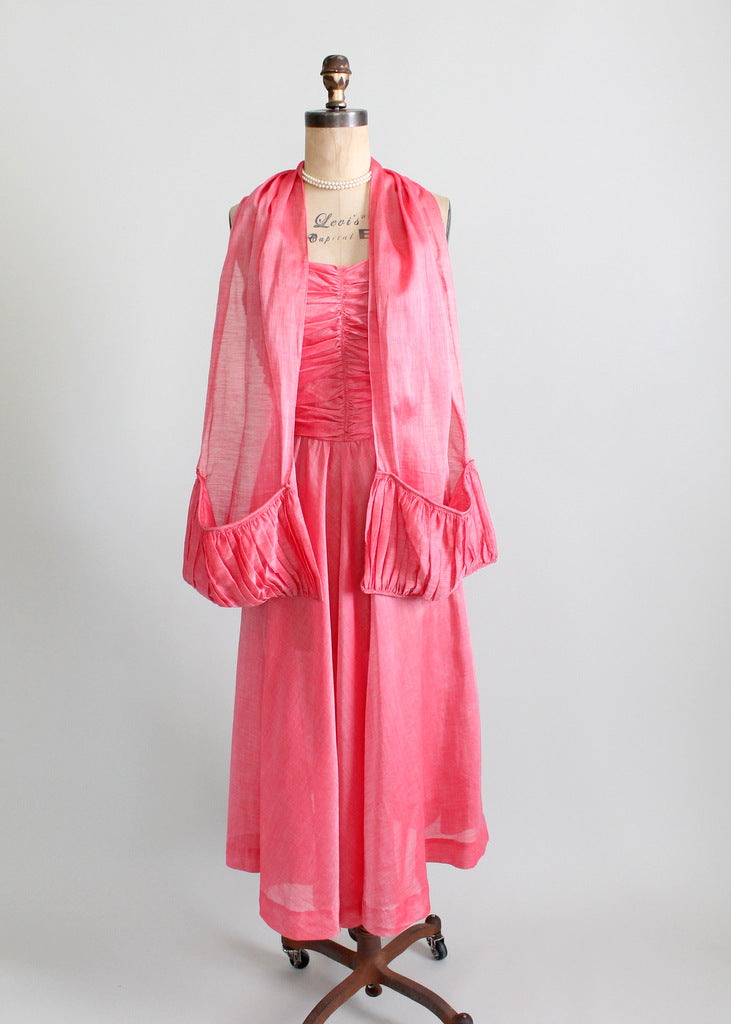Vintage 1940s party dress and shawl