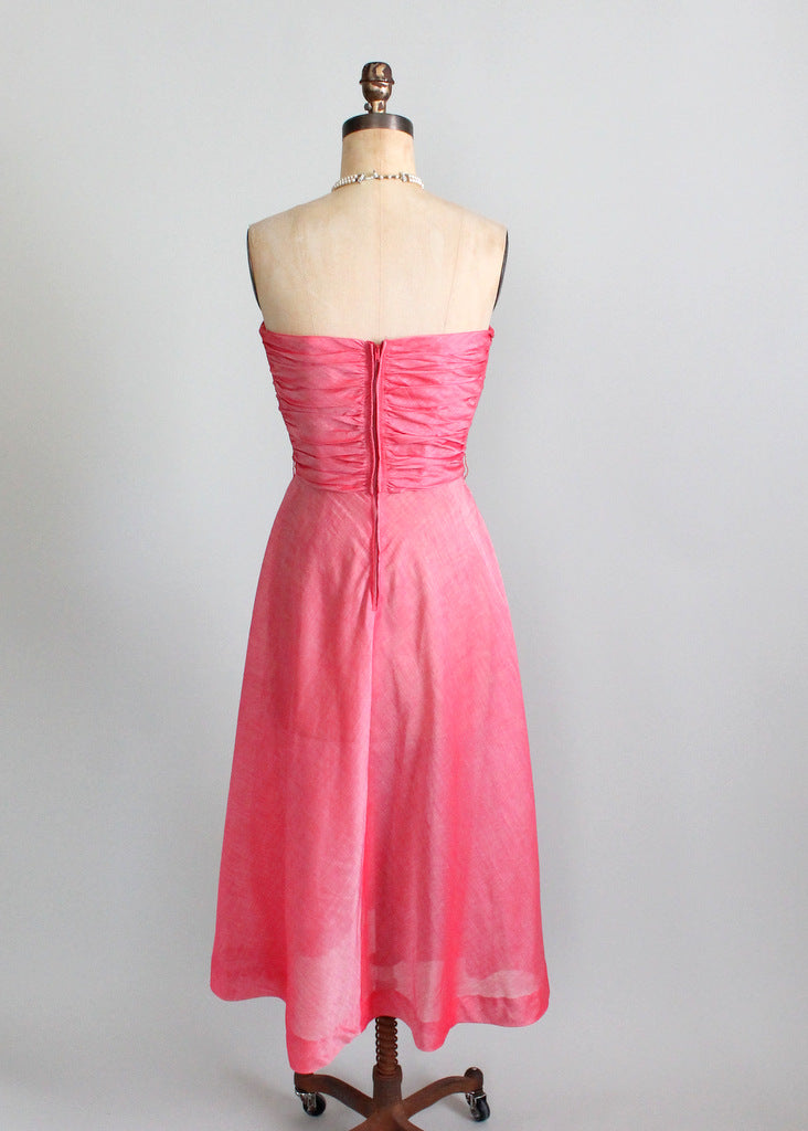 Vintage 1940s Pink Strapless Party Dress and Shawl | Raleigh Vintage