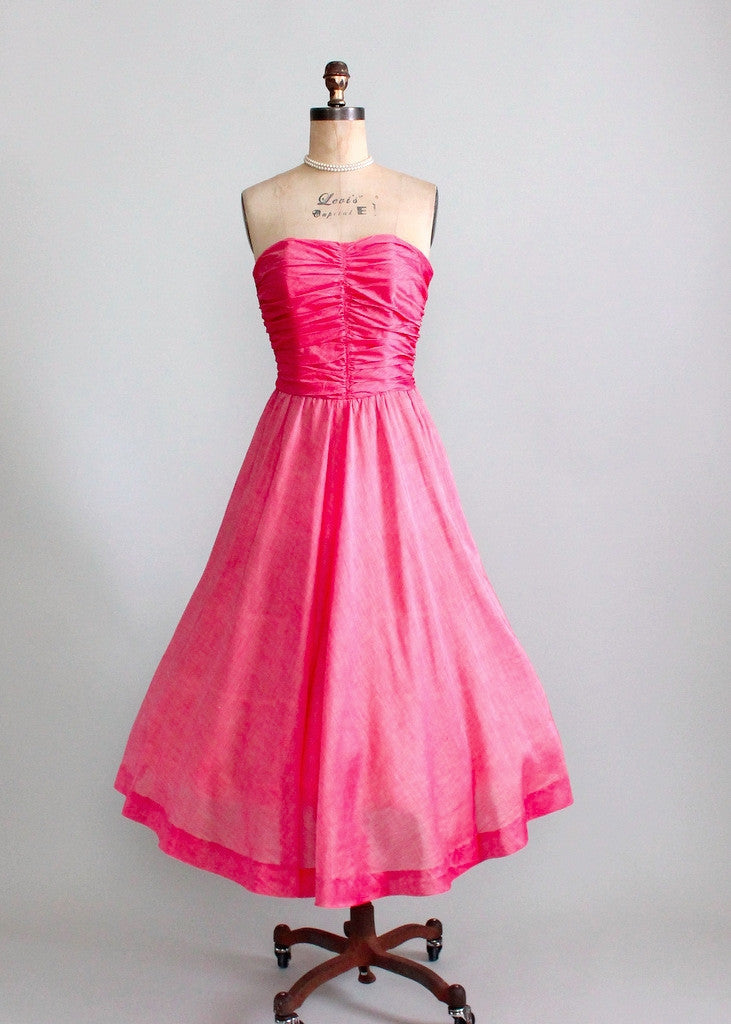 Vintage 1940s strapless party dress