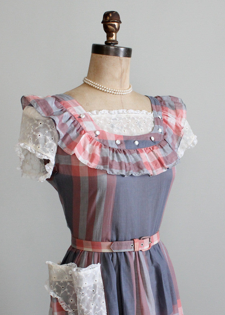 1940s plaid and lace day dress