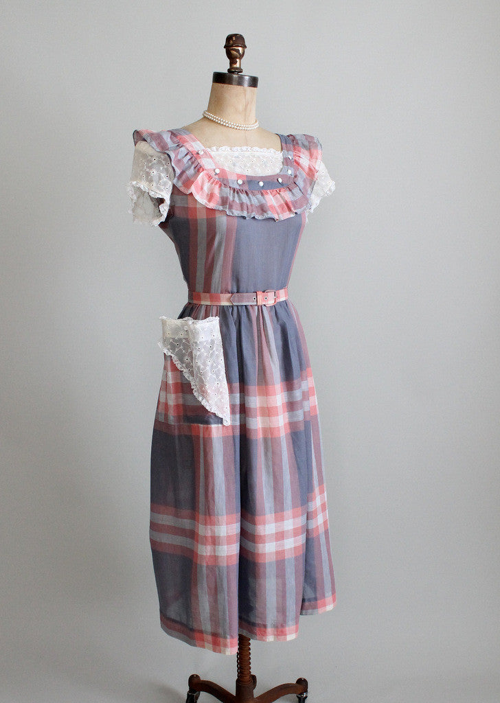 1940s pink & grey plaid day dress