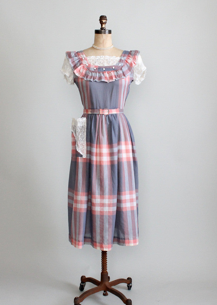 1940's plaid and lace cotton day dress