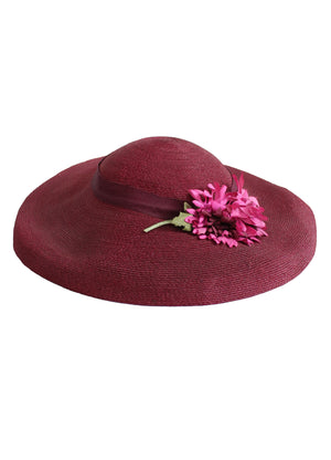 Vintage Early 1940s Bordeaux Straw Tilt Hat