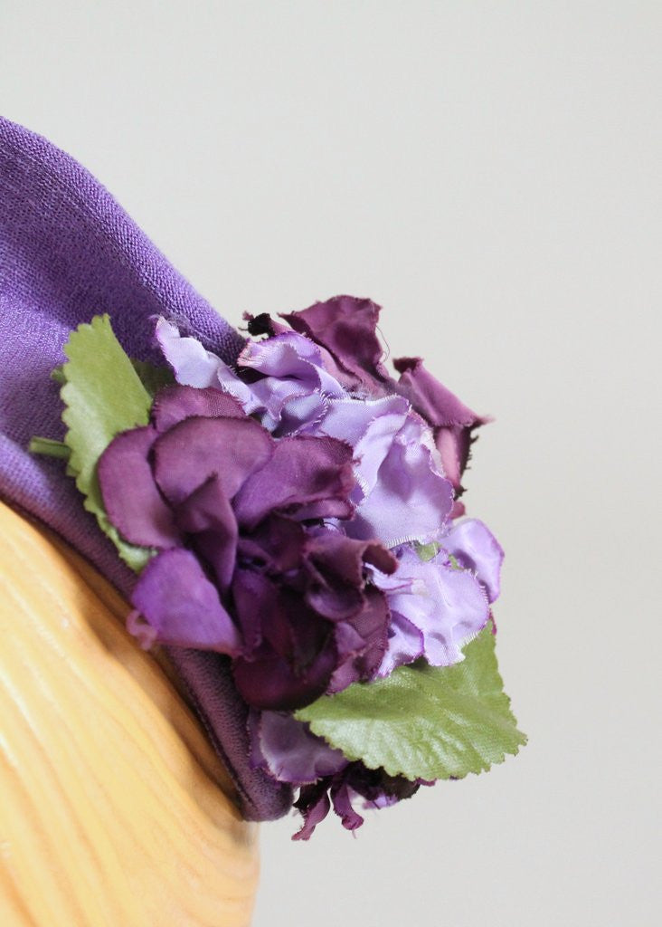 Vintage 1940s Purple Hydrangea Headband Hat