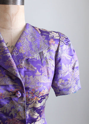 Vintage 1940s Purple Silk Asian Jacket