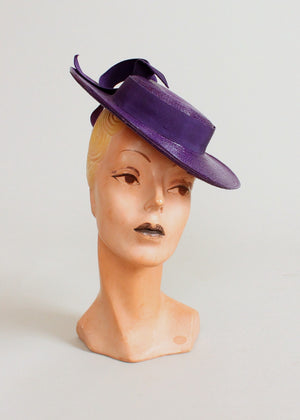 Vintage 1940s Purple Straw Tilt Hat