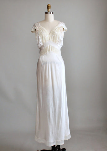 Vintage 1940s Rayon and Lace Nightgown with Drawstring Sleeves