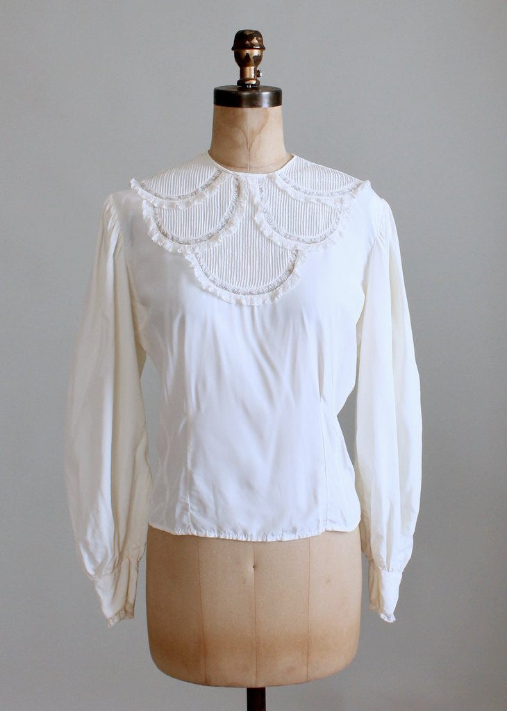 Vintage 1940s Rayon and Lace Poet Blouse