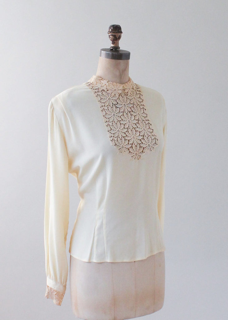 Vintage 1940s Ivory Silk and Lace Blouse