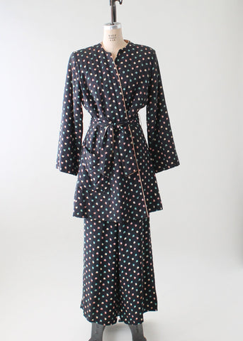 Vintage 1940s Navy Rayon Lounging Jacket and Pants Set