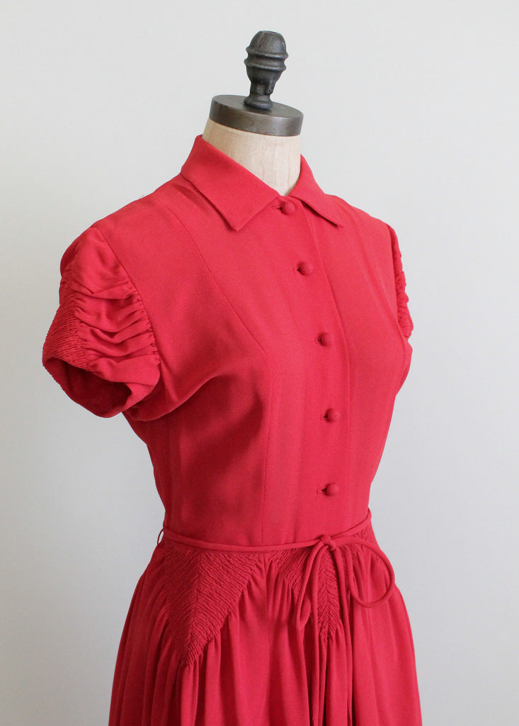 Vintage 1940s Red Crepe Swing Dress