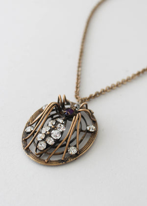 Vintage 1930s Jeweled Spider and Web Necklace