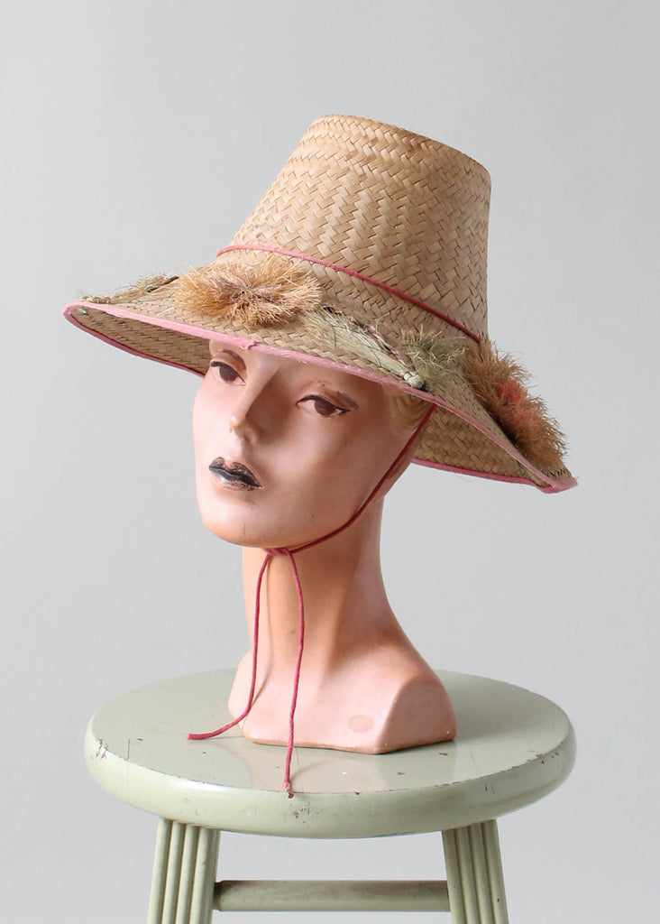 Vintage 1950s Straw Beach Hat with Flowers