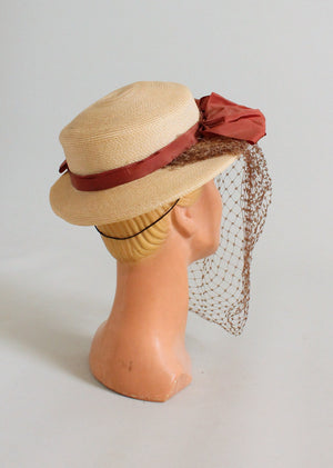 Vintage 1940s Straw Boater Hat with Bows and Face Veil