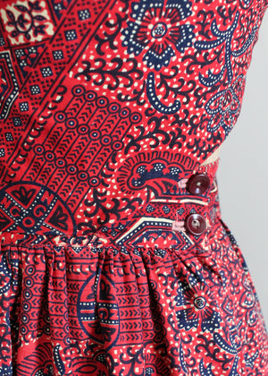 Vintage 1940s tribal print sundress