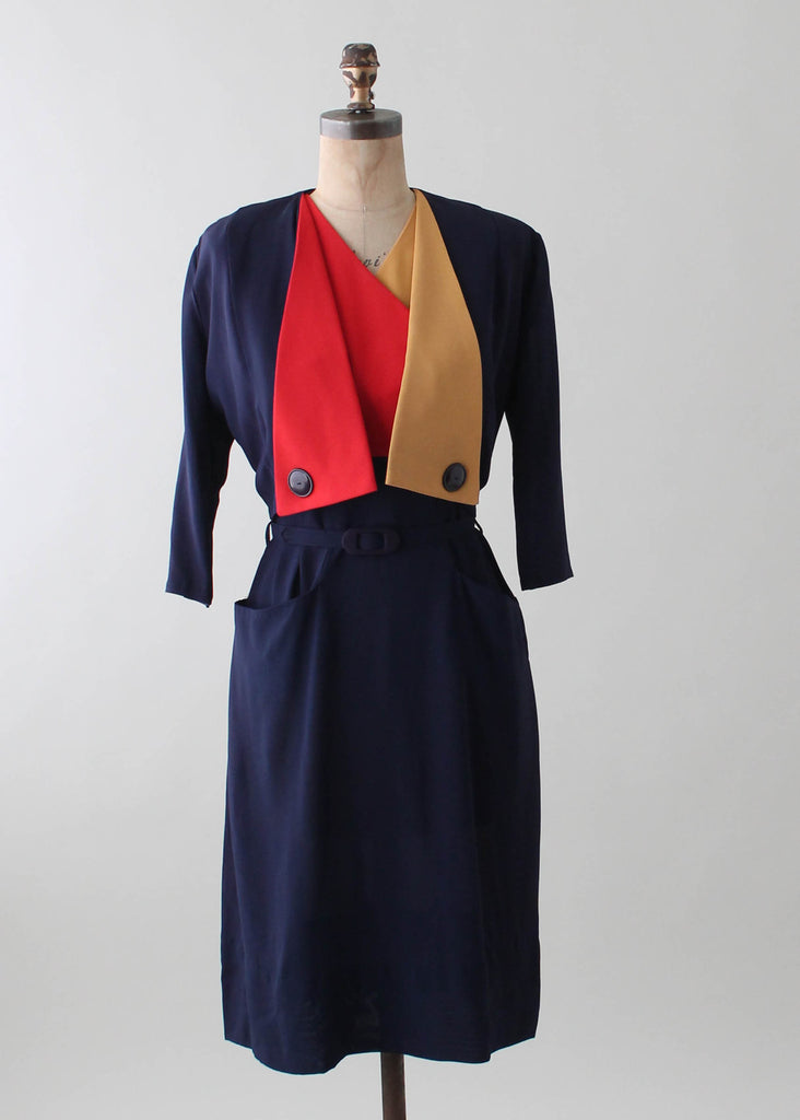 Vintage 1940s Tri Color Crepe Dress and Jacket