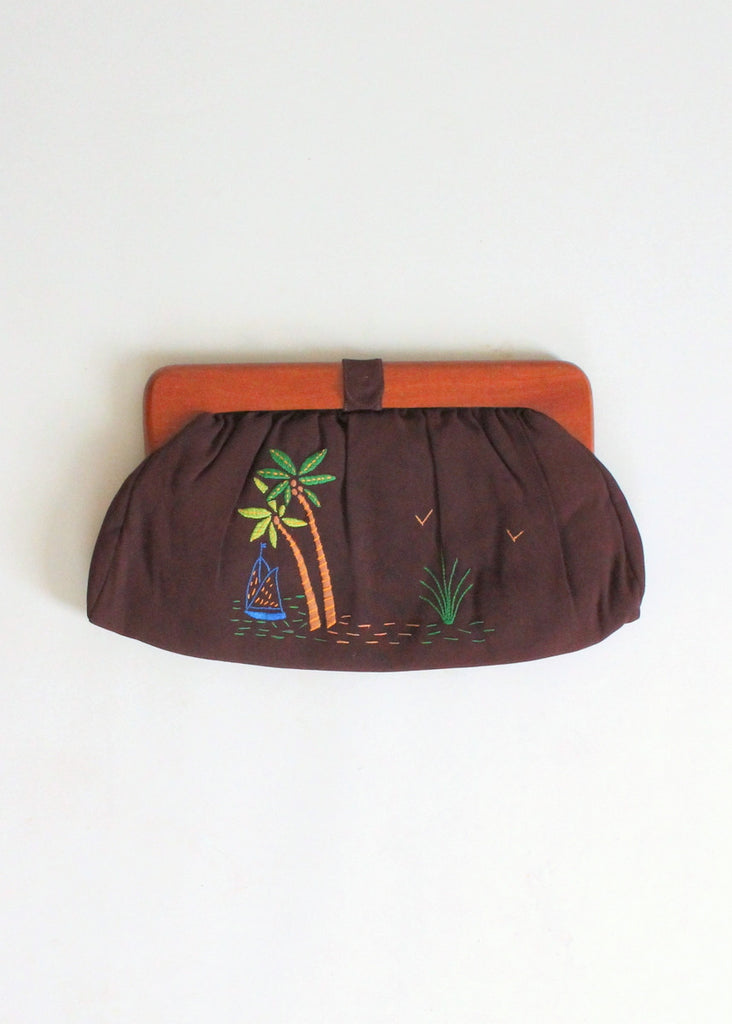 Vintage 1940s Tropical Embroidered Rayon Clutch Purse