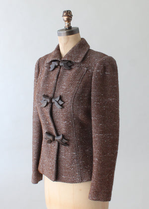 Vintage 1940s Tweed Blazer with Leather Covered Accents