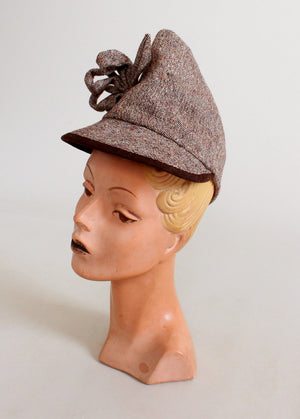 Vintage 1940s Tweed Pointed Tilt Hat