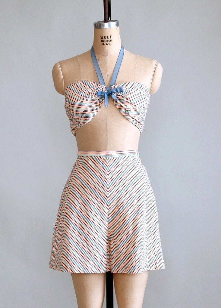 Vintage 1940s Rainbow Striped Two Piece Swimsuit