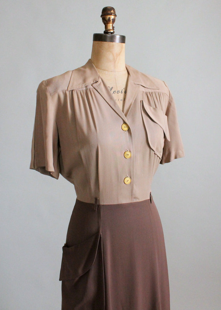 1940s Day Wear: Vintage 1940s Two Toned Gabardine Day Dress