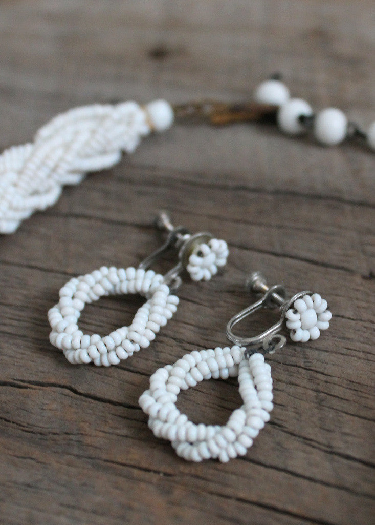 Vintage 1940s White Glass Micro-Bead Necklace and Earrings