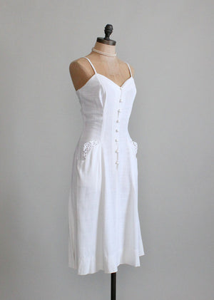 Vintage 1940s Simple White Sundress