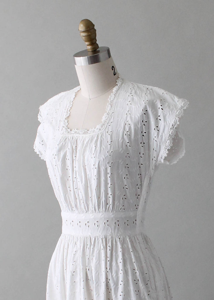 Vintage 1940s White Eyelet Day Dress