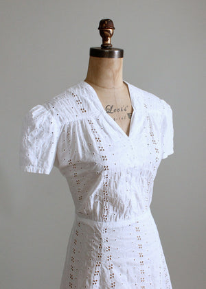 Vintage 1940s White Eyelet Cotton Day Dress