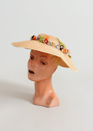Vintage 1940s Wide Brim Straw Hat with A Flower Wreath