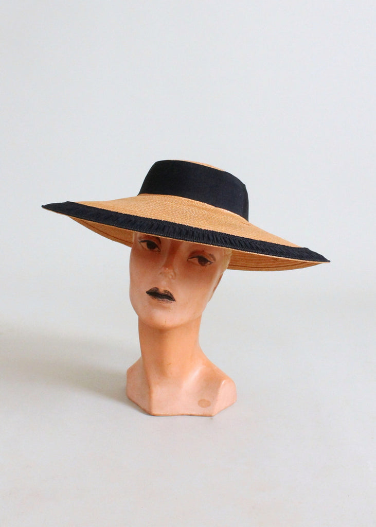 Vintage 1940s Wide Brim Straw Hat with Pleated Ribbon Trim