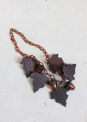 Vintage 1940s Fall Celluloid Acorns and Wood Leaves Necklace