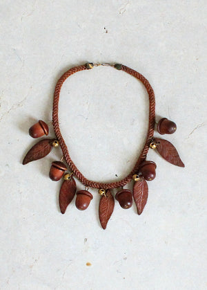 Vintage 1940s Wood Acorn and Faux Hair Chain Necklace