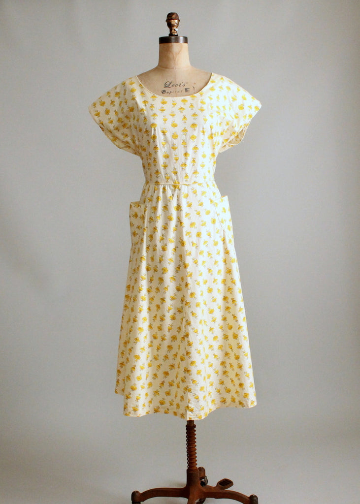 Vintage 1950s Yellow Flower Striped Cotton Day Dress