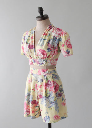 Vintage 1940s Yellow Floral Two Piece Playsuit