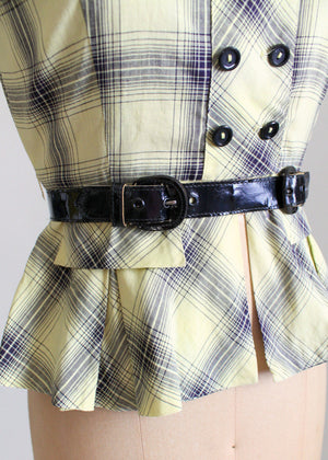 Vintage 1940s Yellow Plaid Peplum Blouse