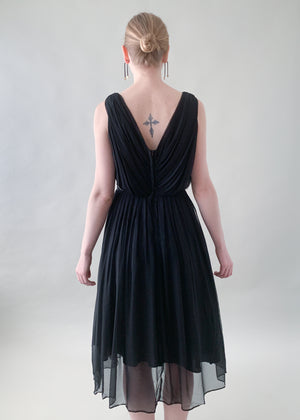 Vintage 1950s Gigi Young Black Chiffon Dress