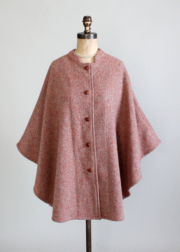 Vintage Early 1960s Anglo Fabrics Tweed Cape Raleigh Vintage
