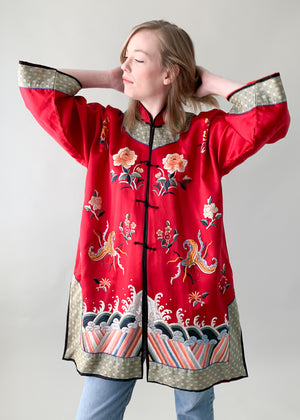 Vintage 1950s Asian Embroidered Silk Jacket