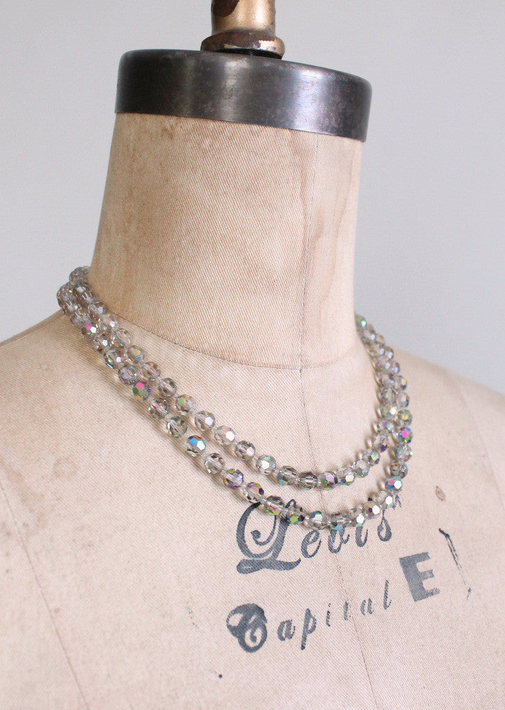 Vintage 1950s Aurora Borealis Necklace and Earrings Set