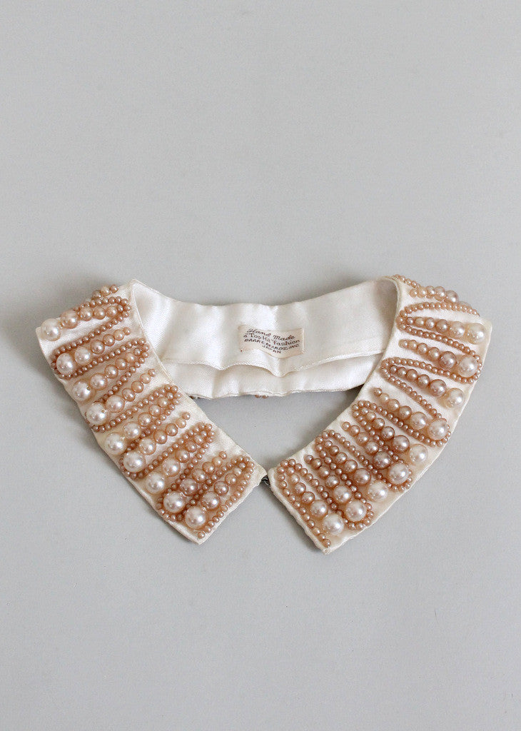 Vintage 1960s Zig Zag Pearl Beaded Sweater Collar